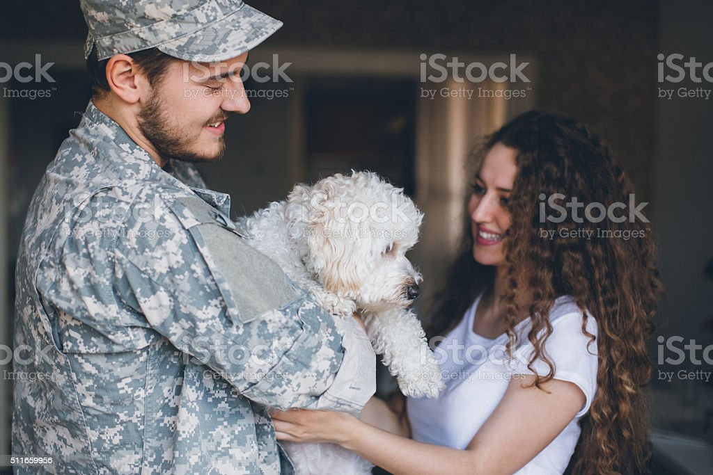Daddy's home! stock photo