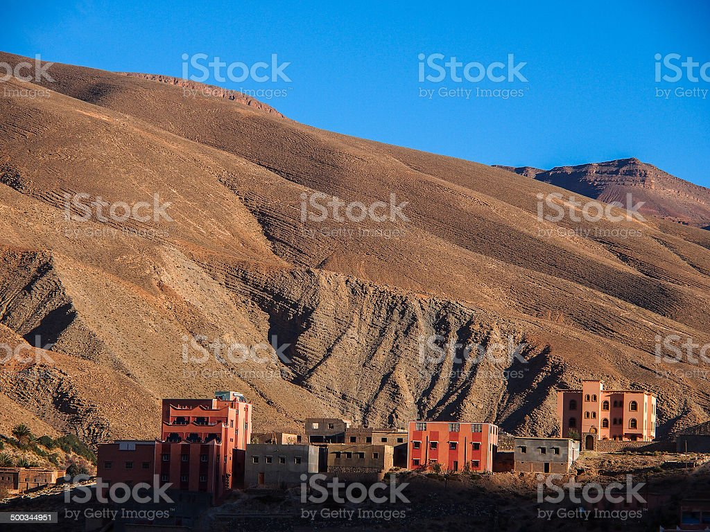 dades valley wild landscape and village in Morocco royalty-free stock vector art