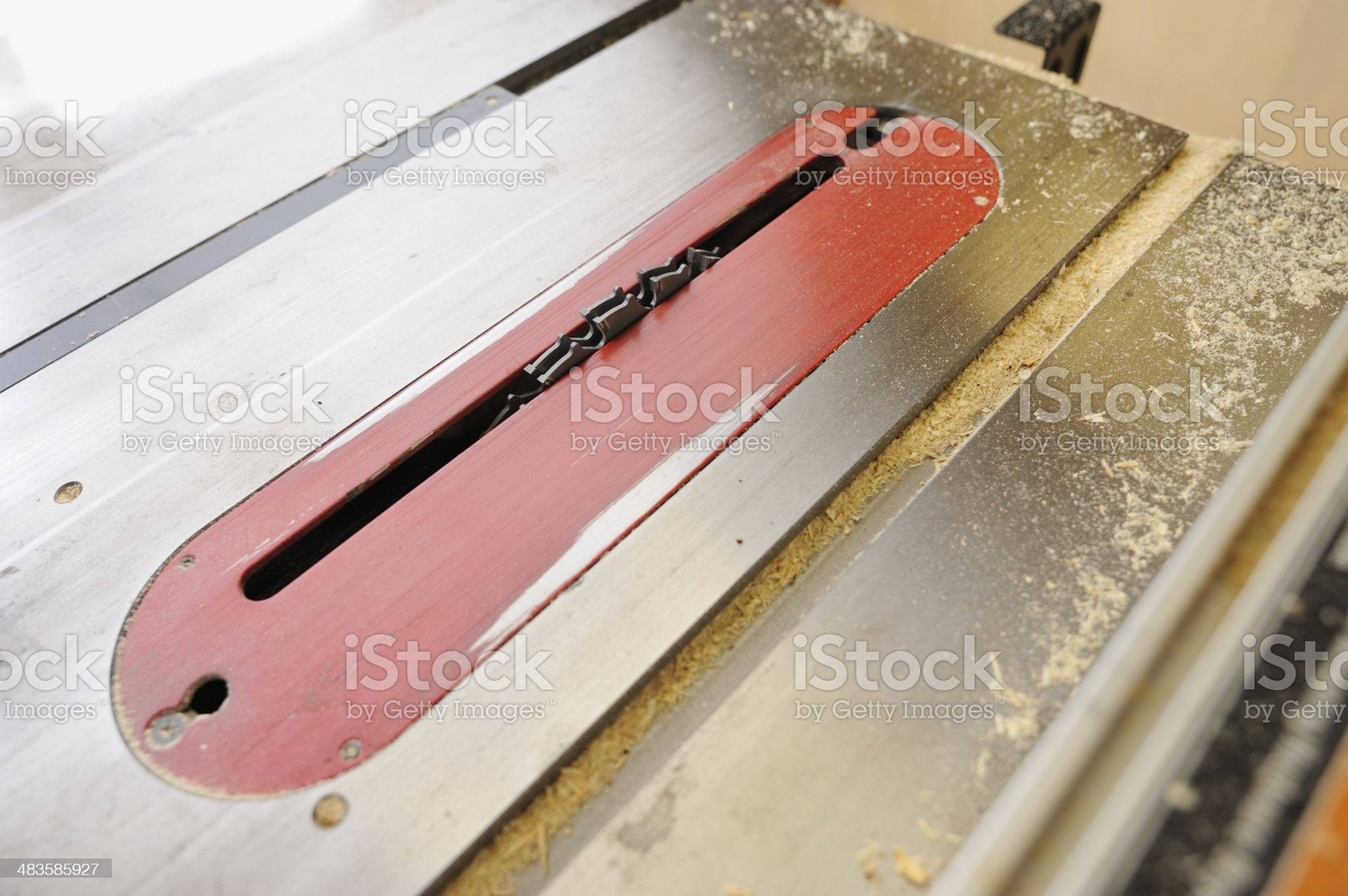 Dado blade in dirty table saw royalty-free stock photo