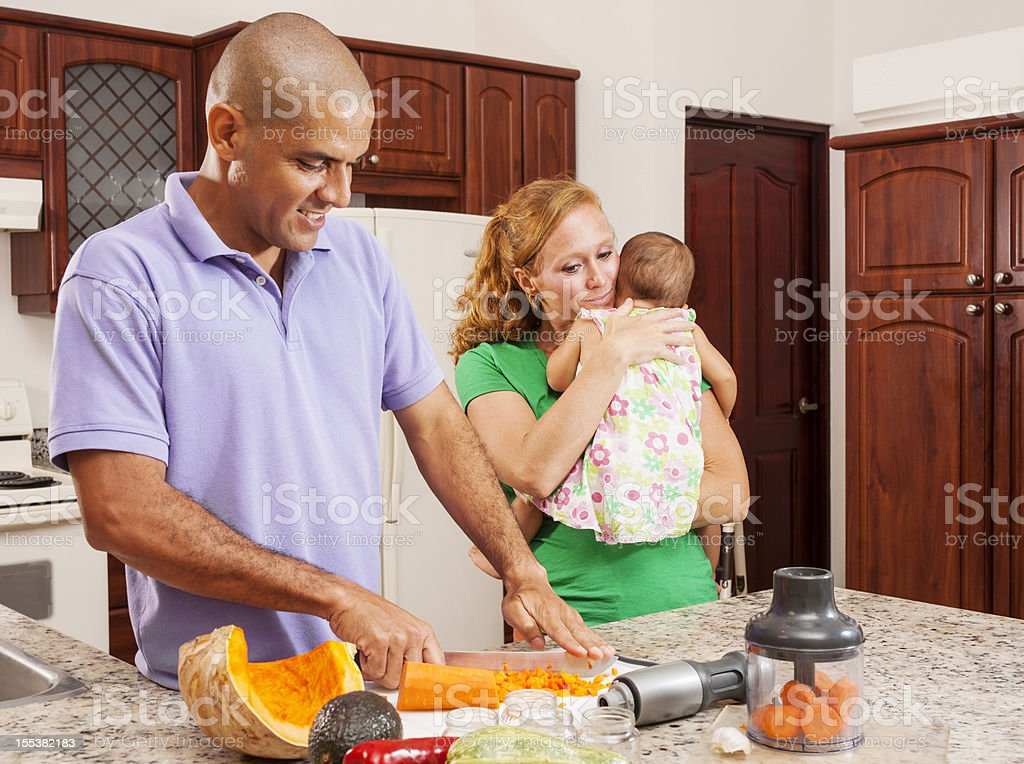 Dad's turn to make dinner royalty-free stock photo