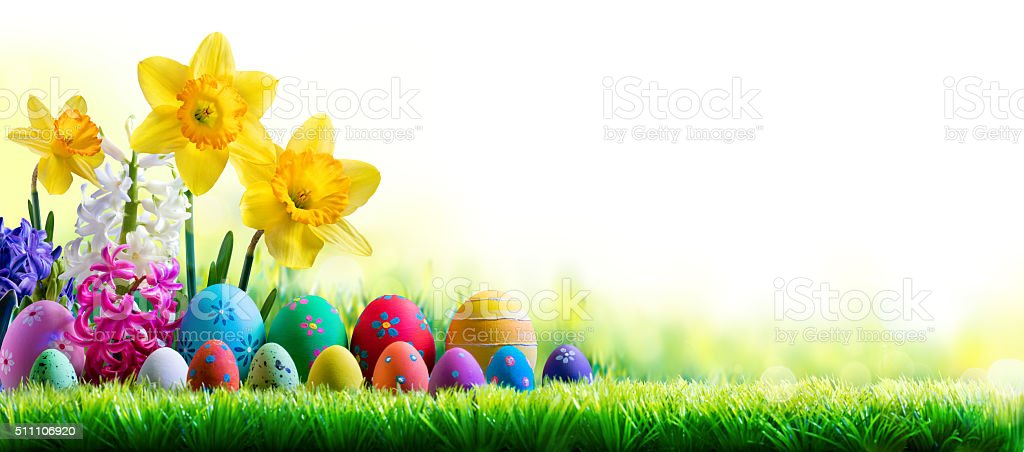 Daffodils And Easter Eggs On Lawn stock photo