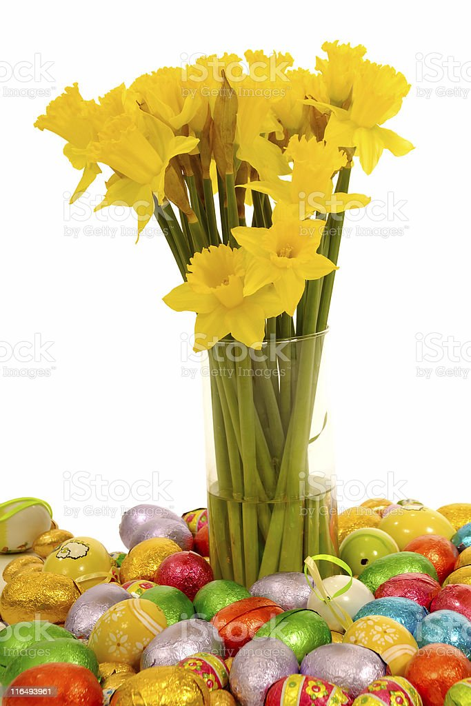 Daffodils and easter eggs royalty-free stock photo