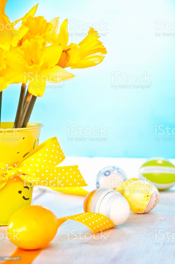 Daffodils and Easter Eggs stock photo