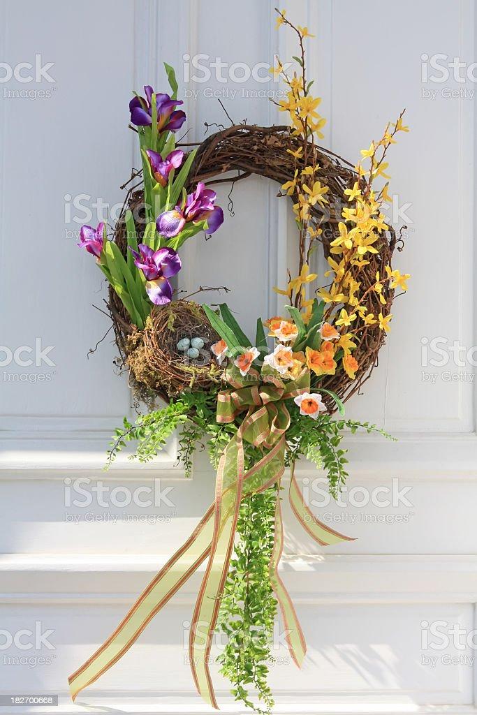 Daffodils, Iris and Forsythia Wreath royalty-free stock photo