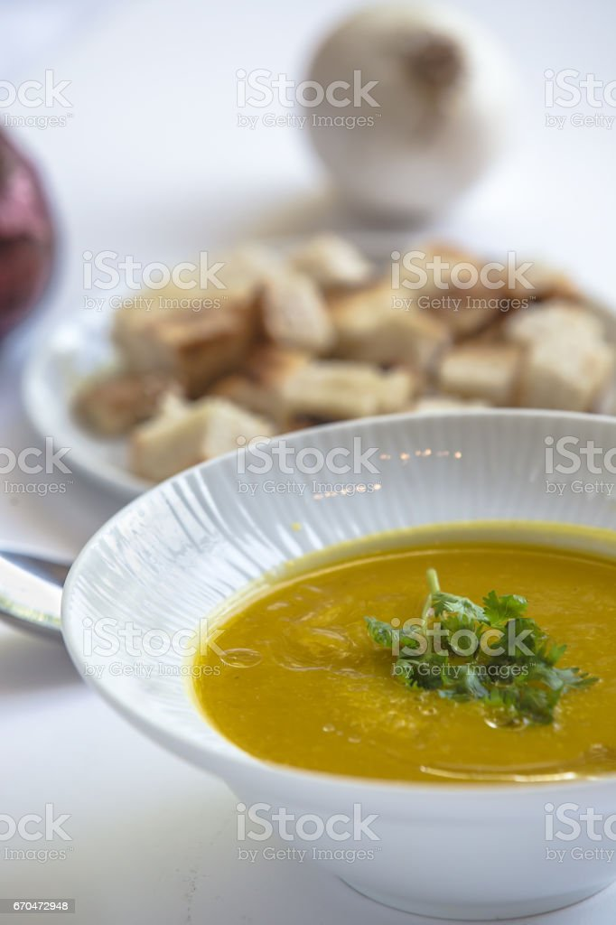 dahl curry soup moroccan style - Moroccan food menu stock photo