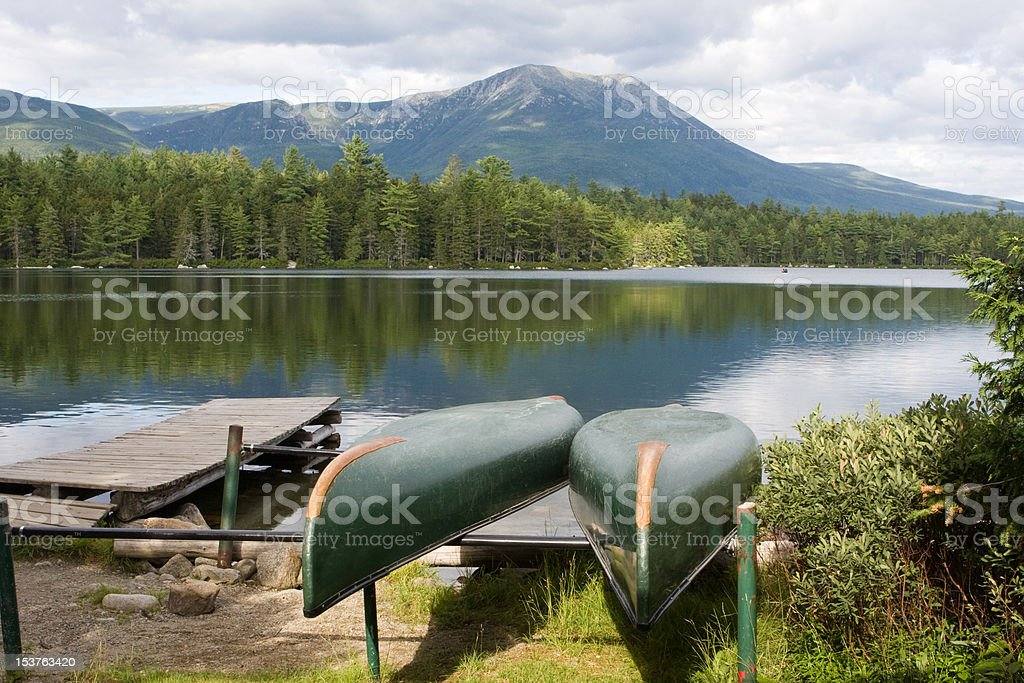 Daicey Pond and Mt Katahdin stock photo