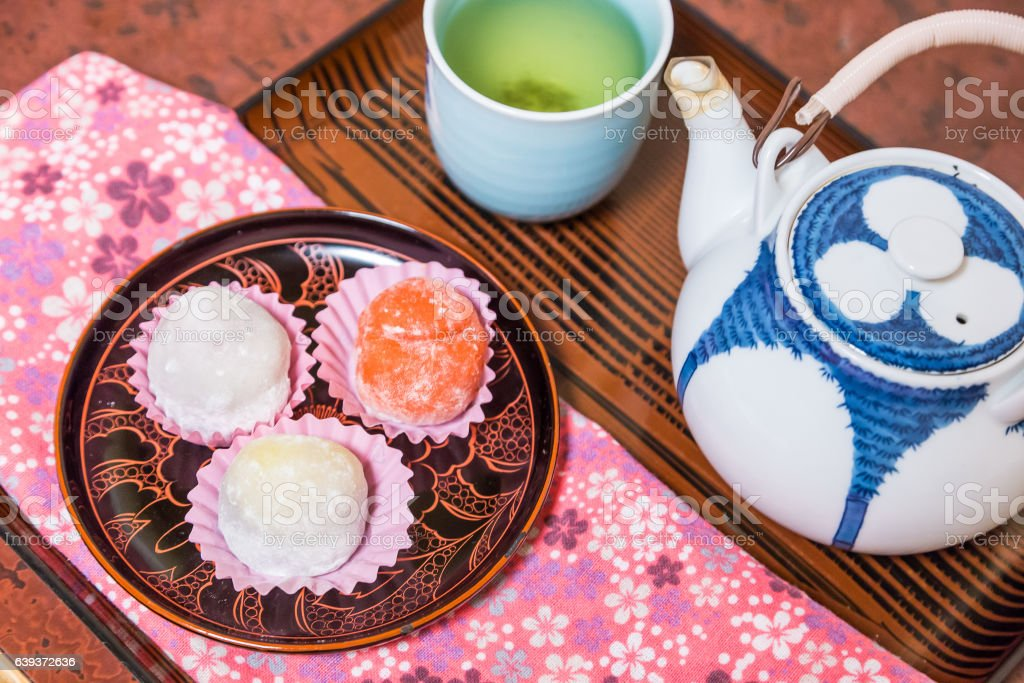 Daifuku with hot green tea stock photo