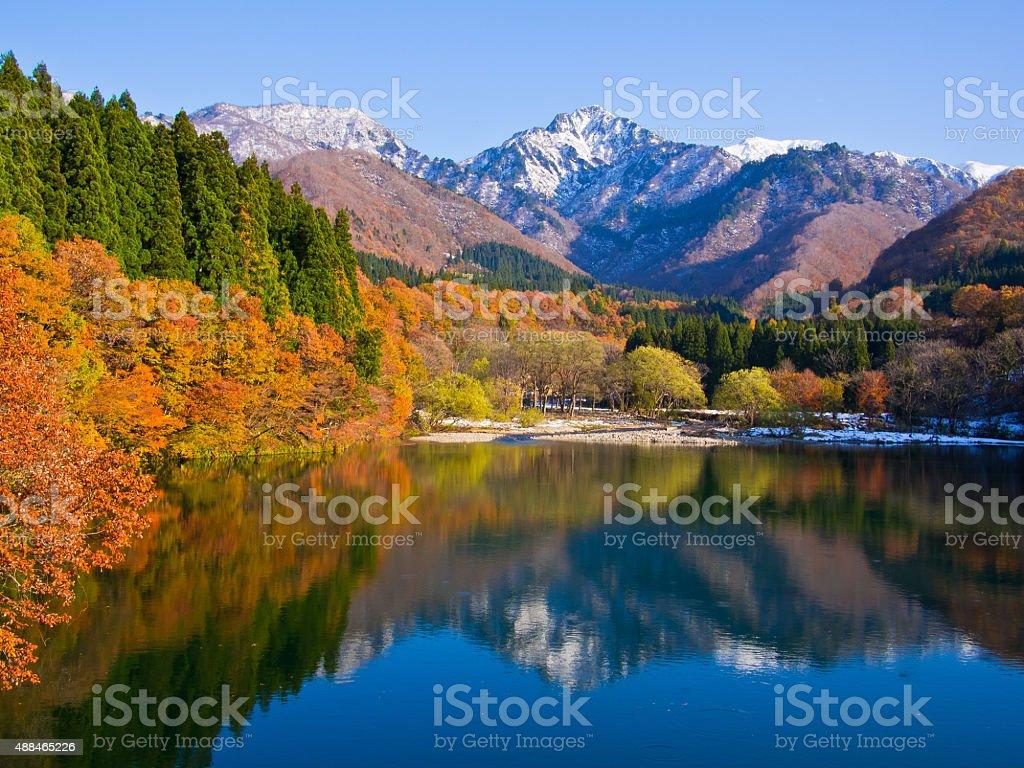 Daigenta-lake,late in autumn stock photo