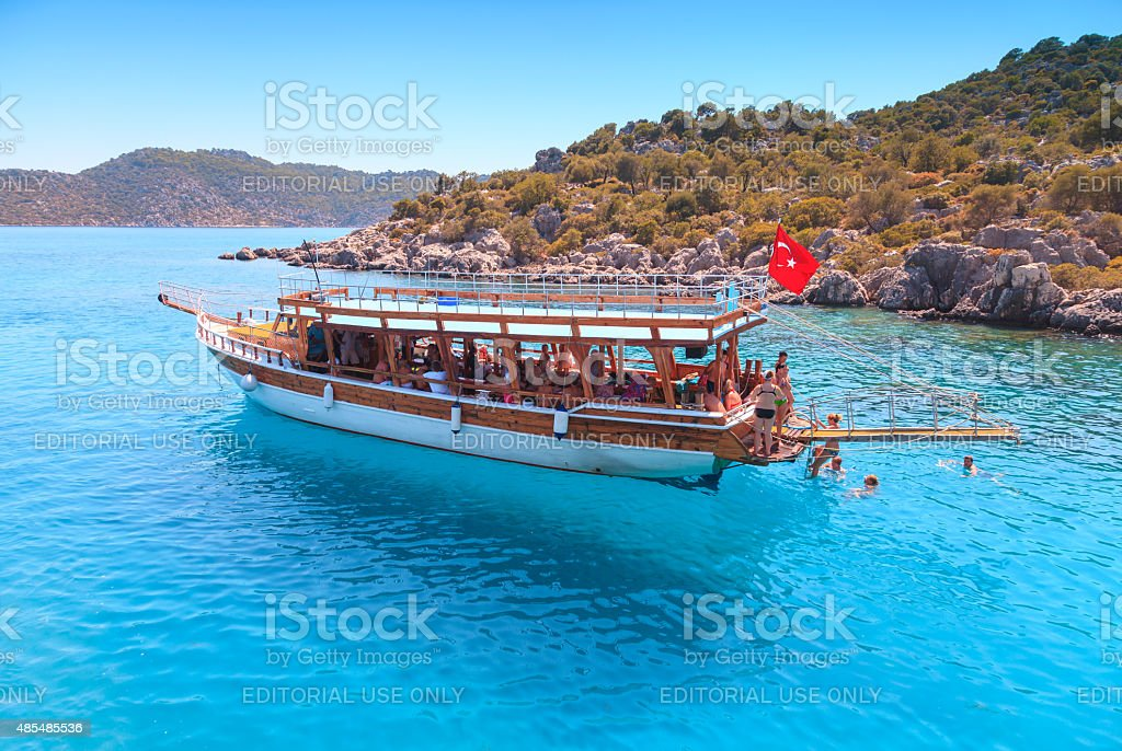 Daily boat trips and swimming in Antalya, Turkey stock photo