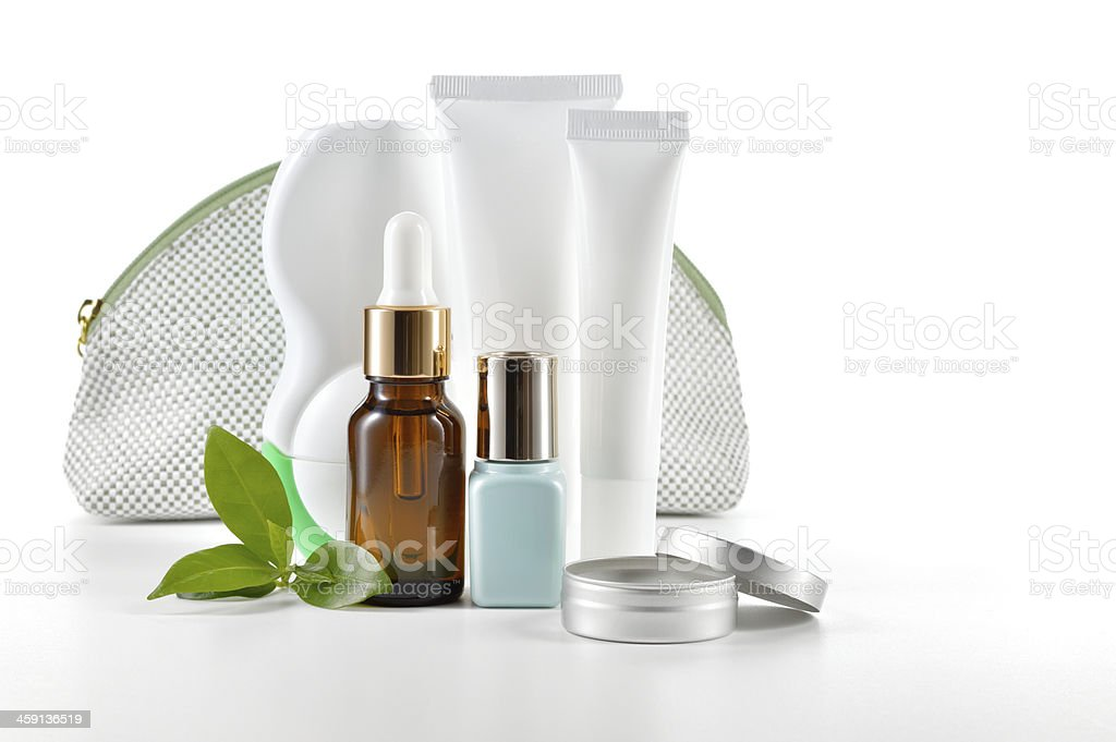 Daily care cosmetics on white background. stock photo