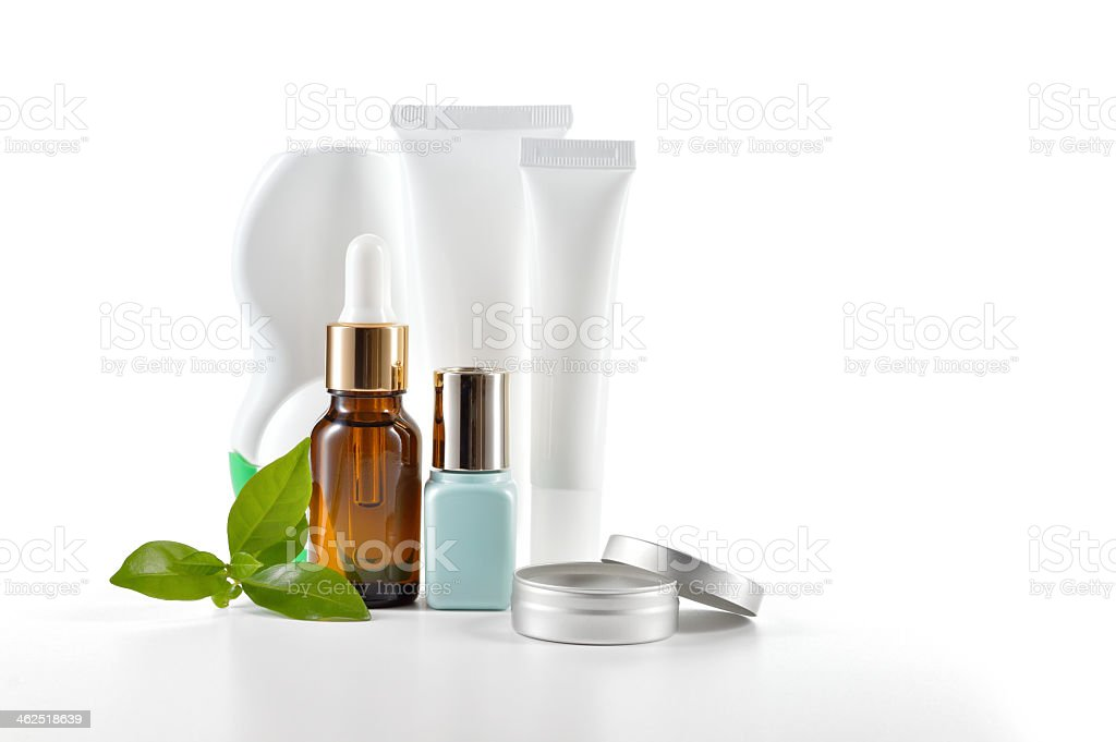 A daily cosmetic routine on a white background stock photo