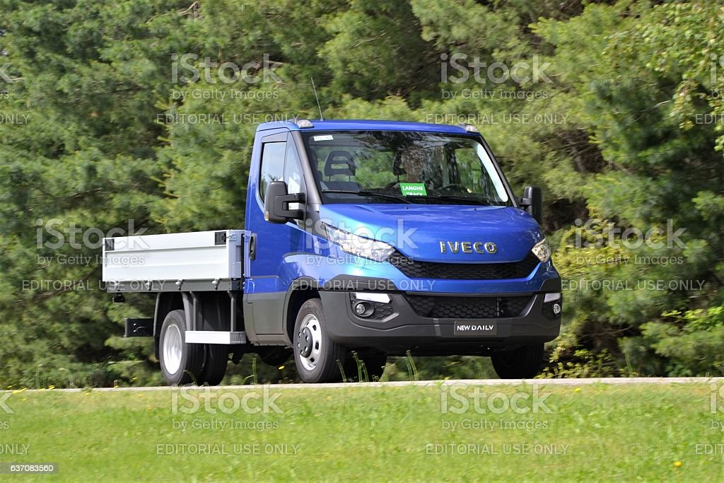IVECO Daily driving on the road stock photo
