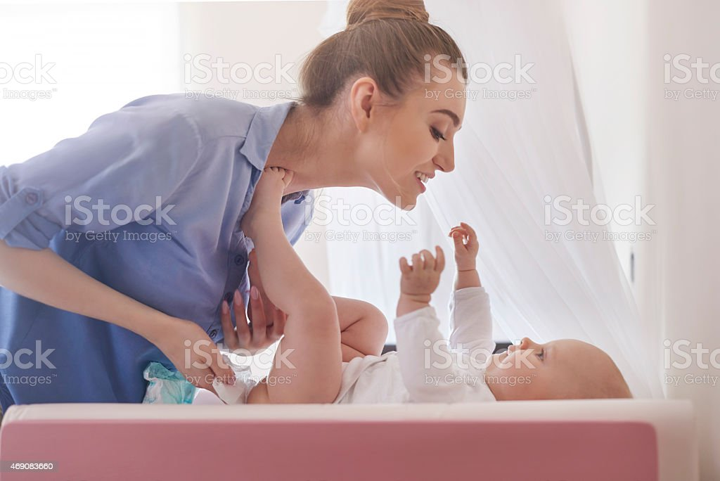 Daily duty of every mother stock photo