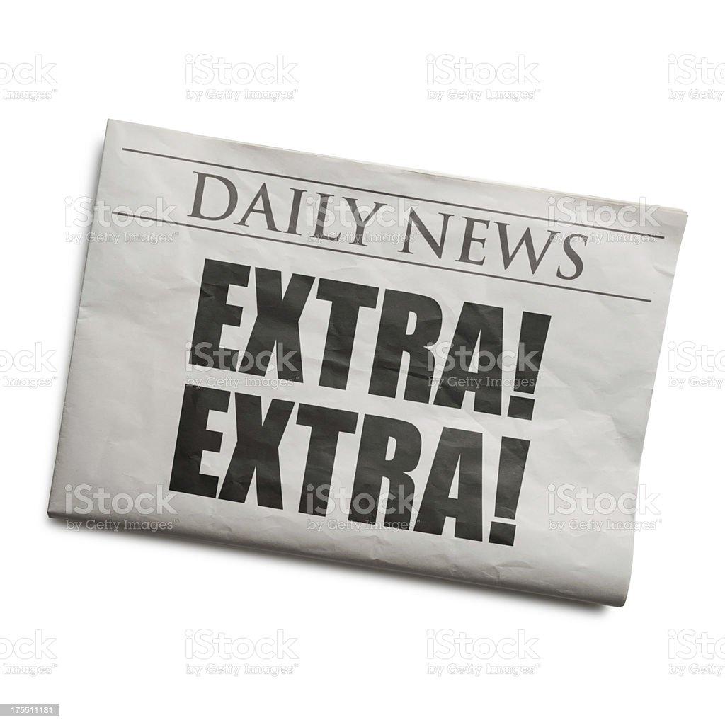 Daily Extra! Newspaper Headline royalty-free stock photo