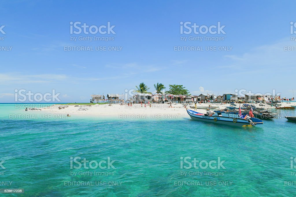 Daily life at Gusungan Island located in Borneo, Malaysia. stock photo