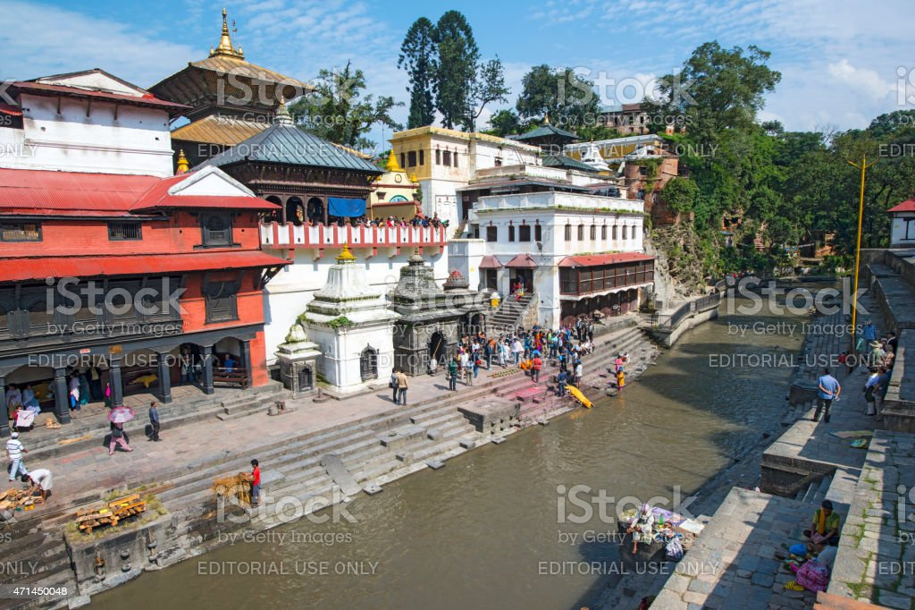 Daily life at Pashupatinath Temple, Kathmandu, Nepal stock photo