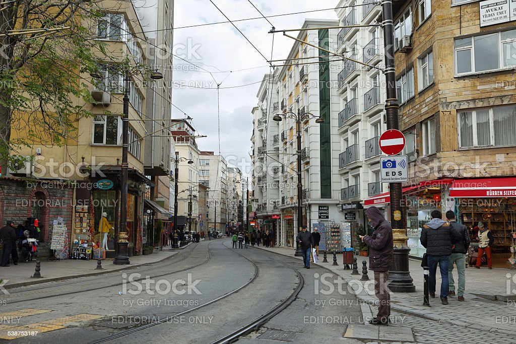 Daily life in the historical center of Istanbul stock photo