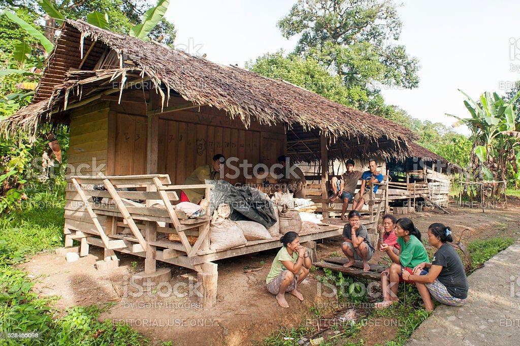 Daily life Mentawai tribe stock photo