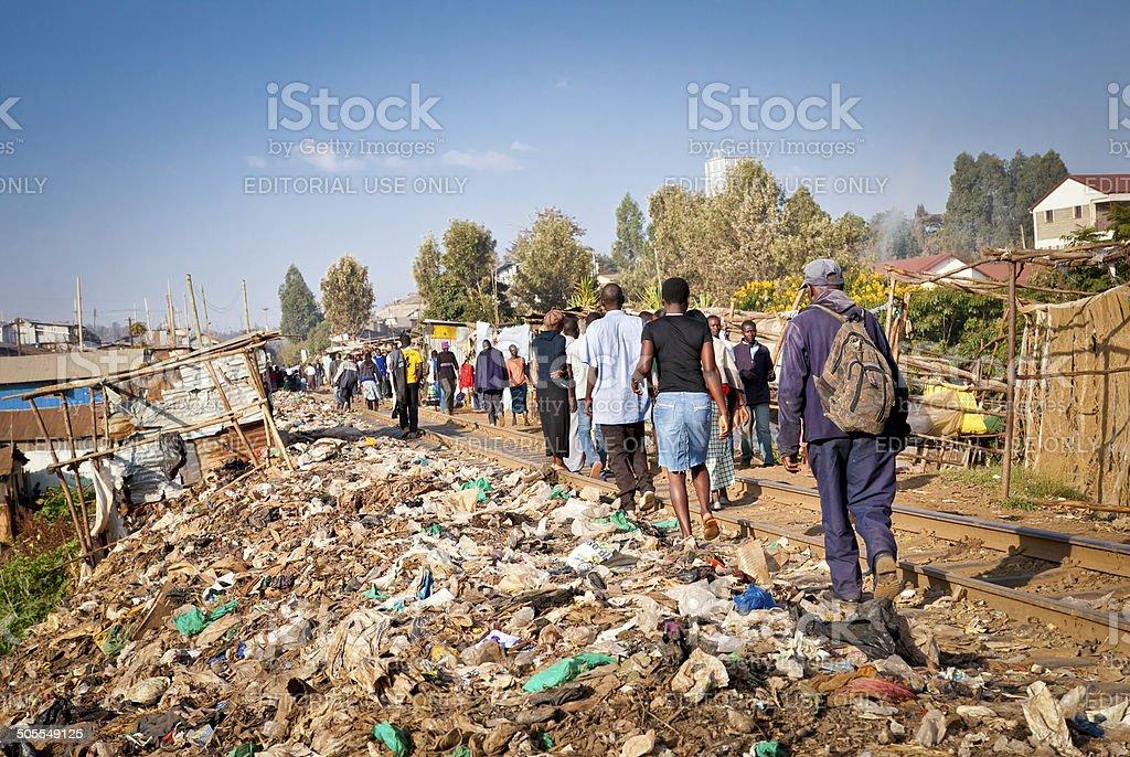 Daily life of local people Kibera slums in Nairobi, Kenya. stock photo