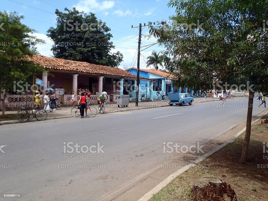 Daily life street scene in Vinales stock photo