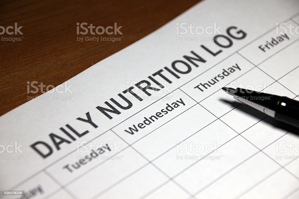 Daily Nutrition Log stock photo