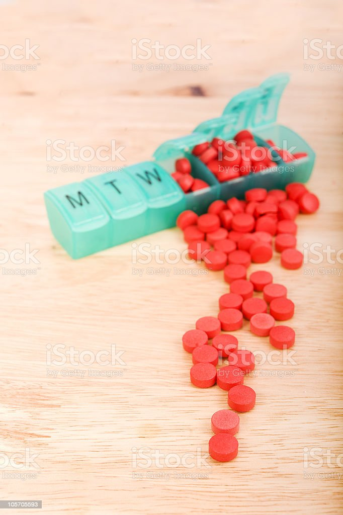 Daily Pill Box Overflowing With Pills royalty-free stock photo
