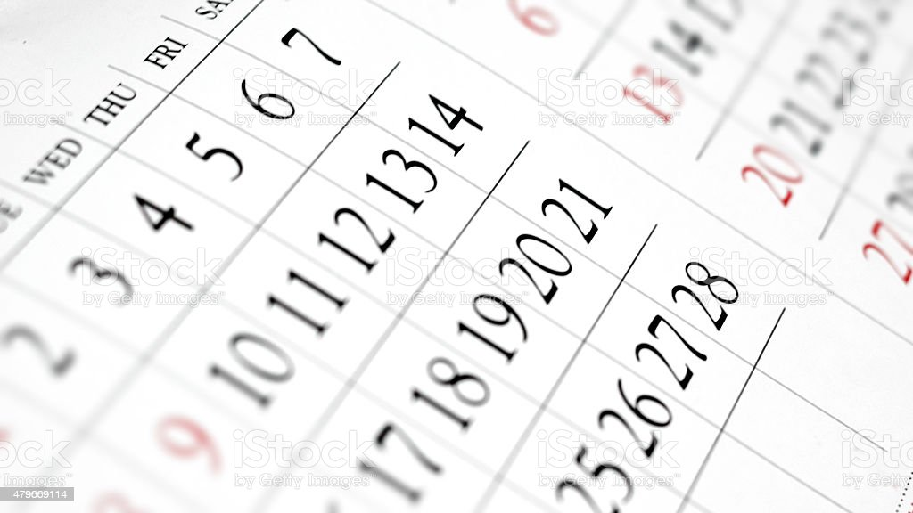 Daily planner - Calendar close up stock photo