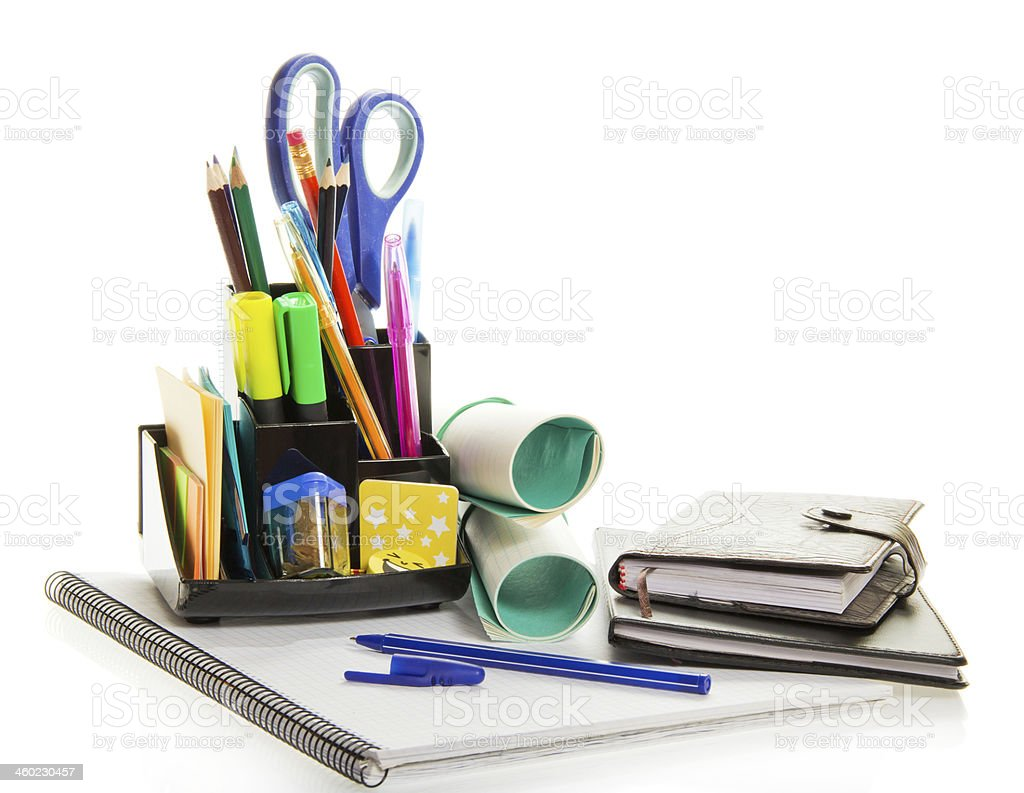 Daily planner, exercise book, office supply stock photo
