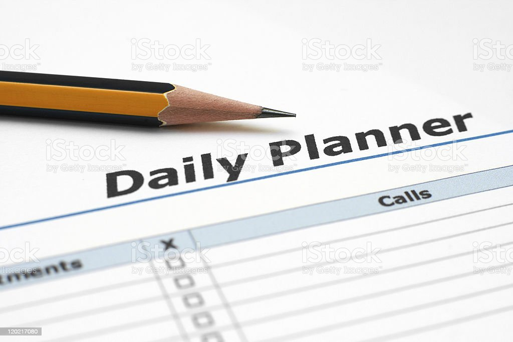 Daily planner stock photo