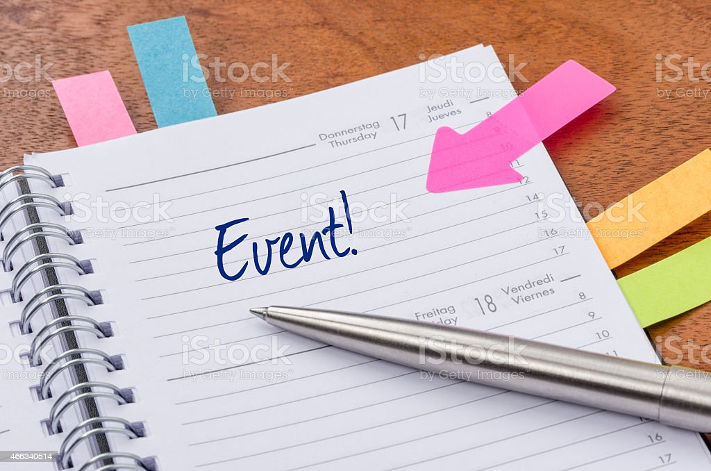 Daily planner with the entry Event stock photo