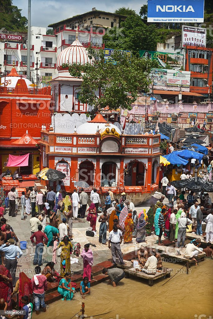 Daily rituals on Ghats of Haridwar royalty-free stock photo