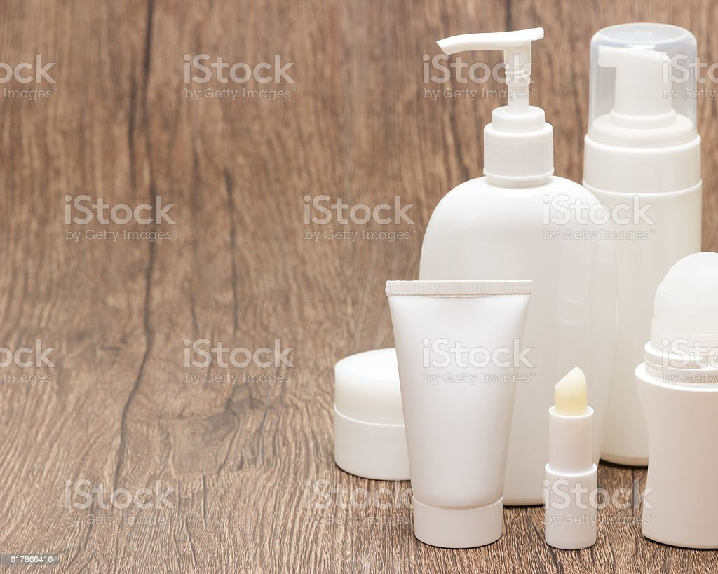 Daily skincare cosmetics with copy space stock photo
