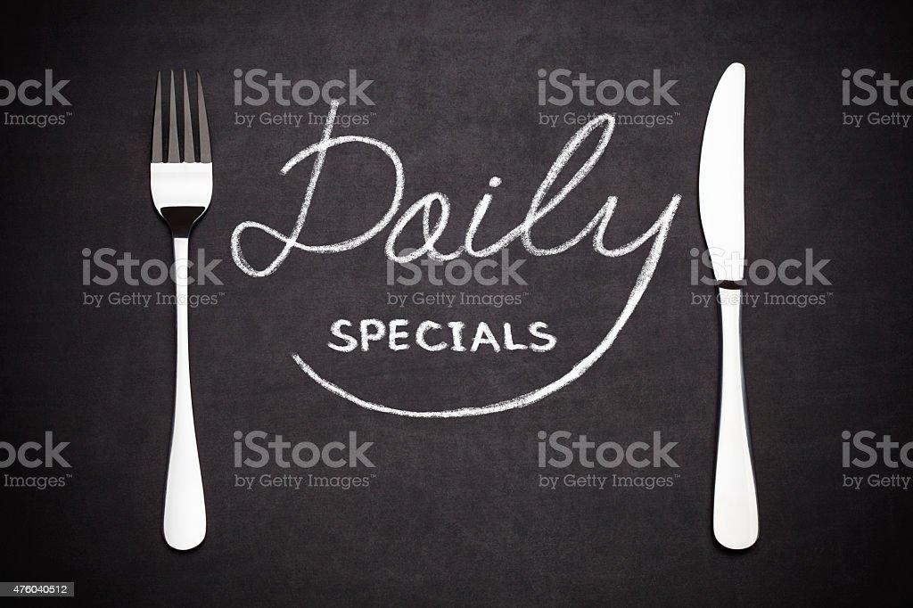 Daily specials menu stock photo