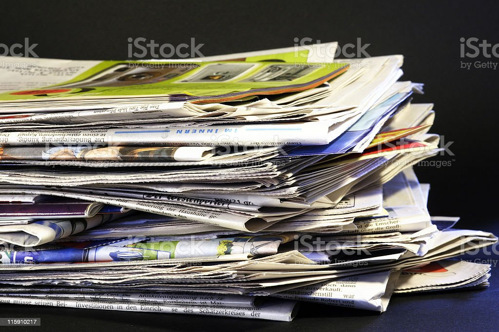 daily stack of newspapers royalty-free stock photo