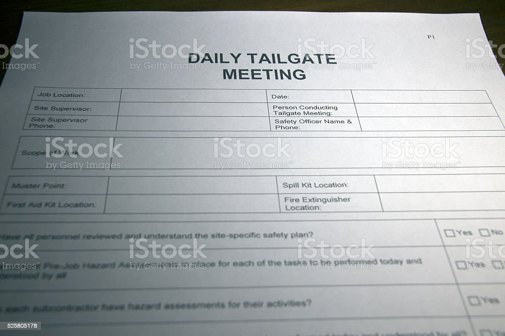 Daily Tailgate Meeting Document stock photo