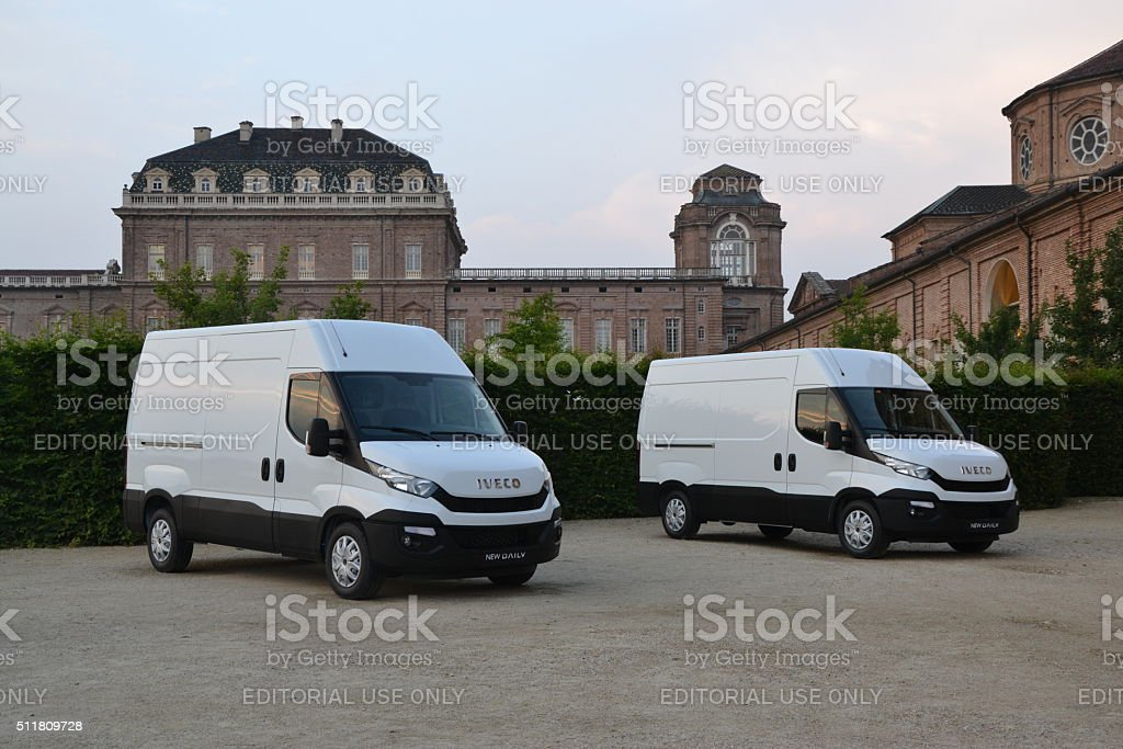 IVECO Daily vehicles in a row stock photo