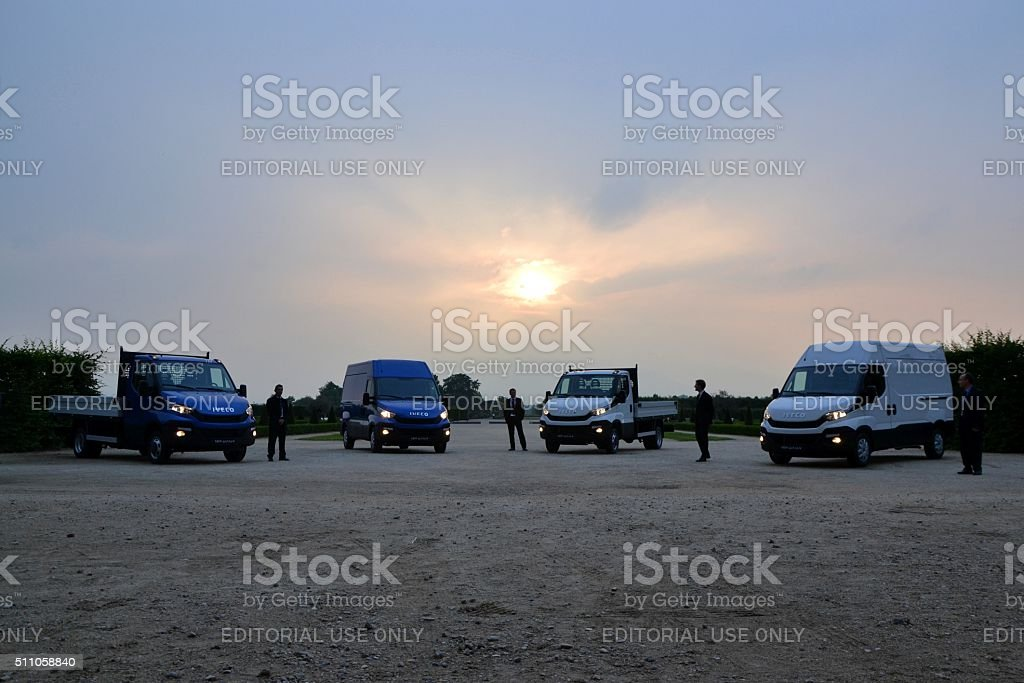 IVECO Daily vehicles in the sunset stock photo