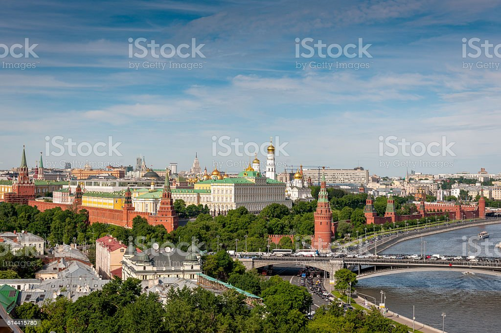 Daily view of Moscva River and Kremlin,Moscow, Russia, Europe. stock photo