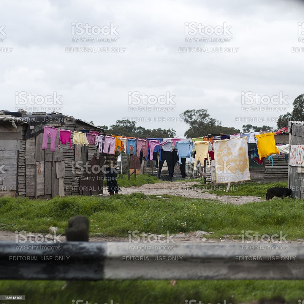 Daily washing in the squatter camp stock photo