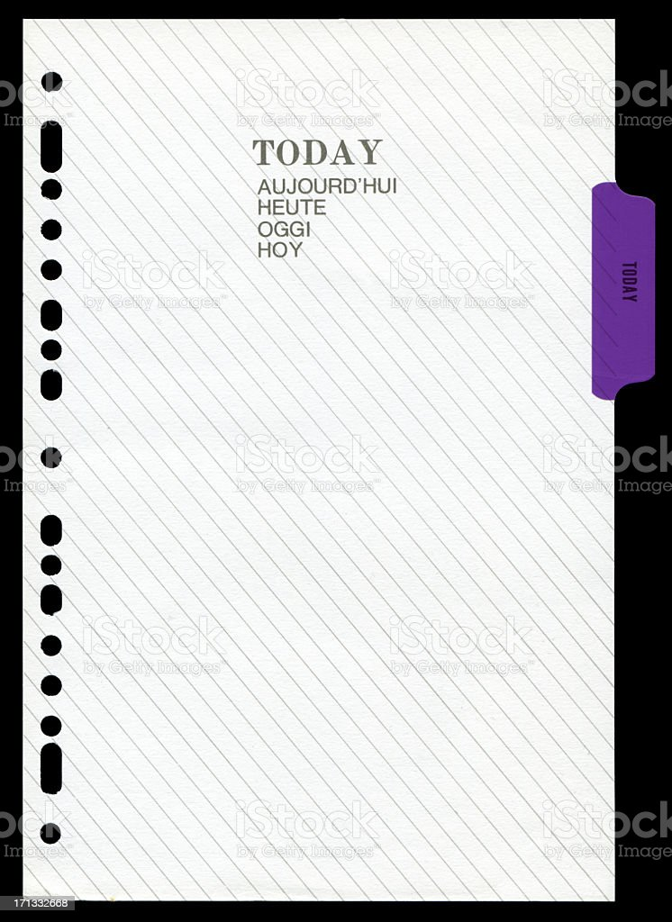 Daily work plan page paper textured background stock photo