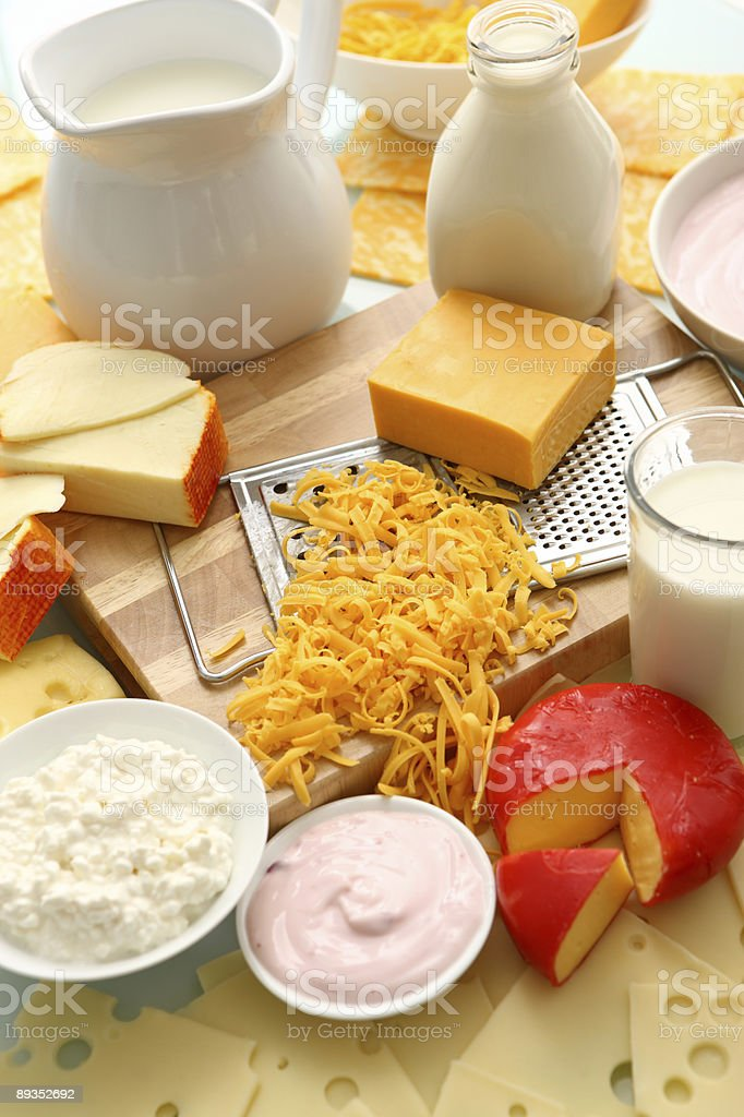 Dairy and cheese group stock photo