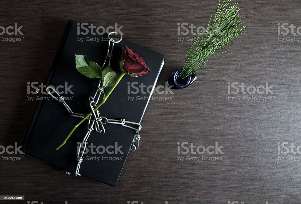 Dairy and red rose tied with chain on wooden table stock photo