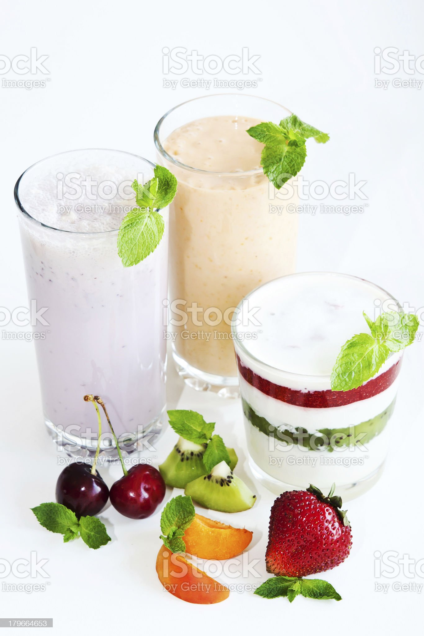 Dairy desserts with fruit royalty-free stock photo