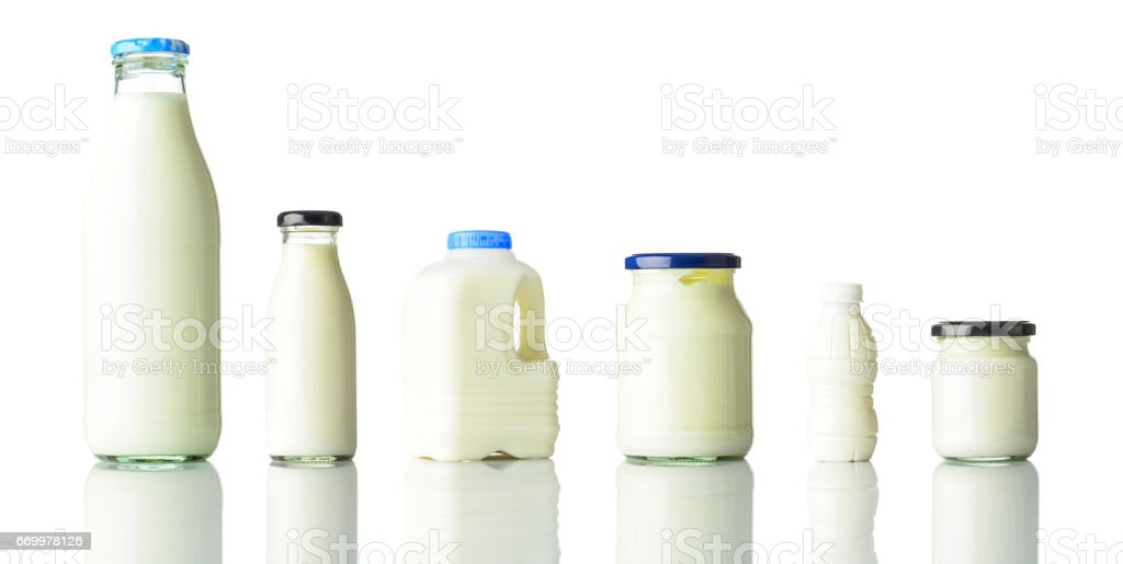 Dairy Milk Products Isolated on White Background stock photo