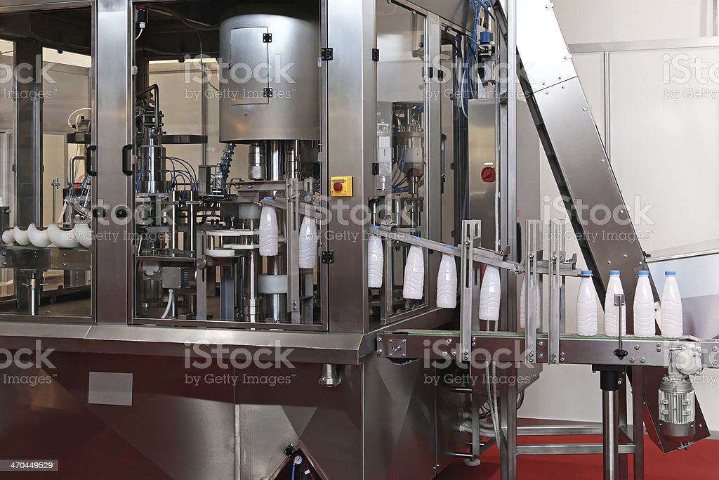 Dairy packaging line stock photo