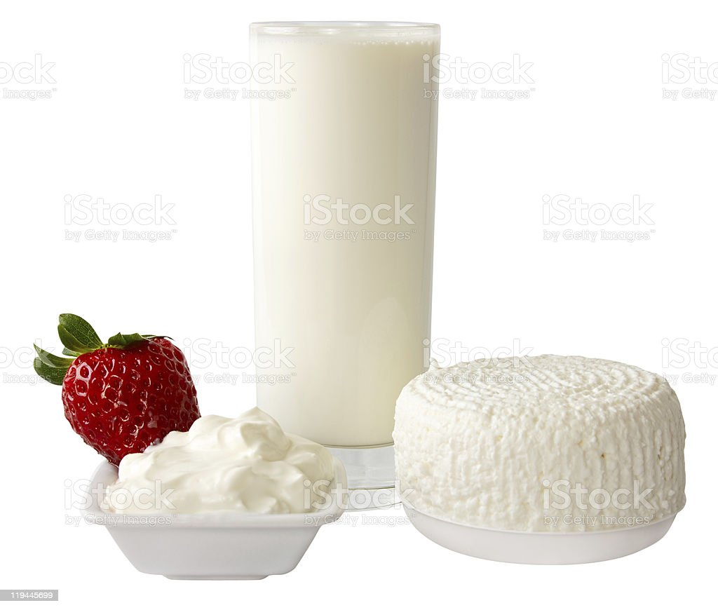 Dairy produce with strawberry royalty-free stock photo