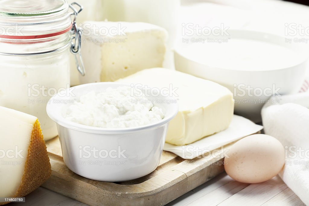 dairy produchts yoghurt cheese butter egg royalty-free stock photo