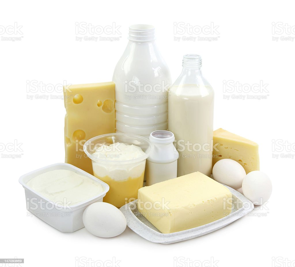 Dairy products and eggs stock photo