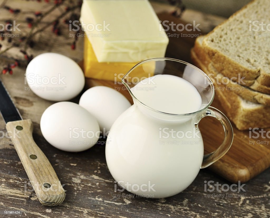 dairy products and Fresh eggs royalty-free stock photo