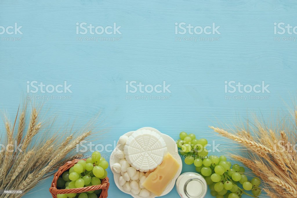 Dairy Products And Fruits Symbols Of Jewish Holiday Shavuot Stock